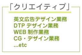 クリエイティブ,英文広告デザイン業務,DTPデザイン業務,WEB制作業務,CG・デザイン業務,...etc